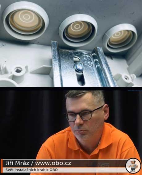 Jakým způsobem se upevňují přístrojové lišty uvnitř krabic OBO?